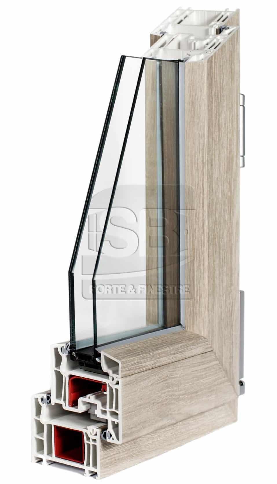Top sezione infisso in pvc a camere con forme squadrate for Infissi esterni in alluminio prezzi